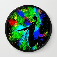 kobe Wall Clocks featuring Slam Dunk by Saundra Myles
