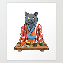 Kawaii Japanese British Shorthair Cat Kimono Sushi Art Print