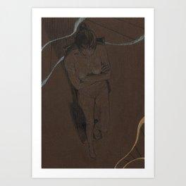 Nude Woman Pencil Charcoal Drawing Realistic Minimalist Conceptual Symbolist Art Dark Brown  Art Print