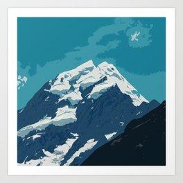 Aoraki Mount Cook glacier summit in summer Art Print