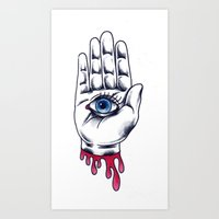 occult Art Prints featuring Occult Hand by Adam Gillespie Artwork