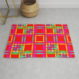 Oriental pattern of neon squares and curly crosses on a red background. Rug