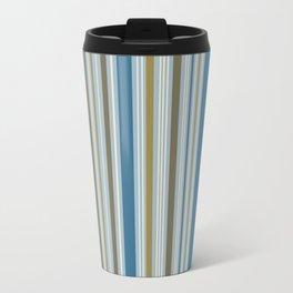 Stripey Design Gold Cream Brown Blues Travel Mug