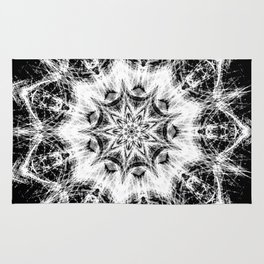 Atomic Black Center Swirl Mandala Rug