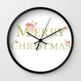 Merry Christmas Watercolor Letters and Florals Wall Clock