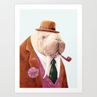 walrus Art Prints featuring Walrus by Animal Crew