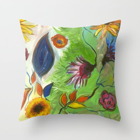 Flower Swirls Throw Pillow