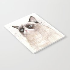 Grumpy Watercolor Cat Geek Meme Whimsical Animals Notebook