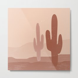 Terracotta Desert Cactus Metal Print