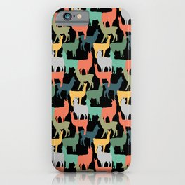 Retro Style Llama Pattern Vintage Alpaca Pink iPhone Case