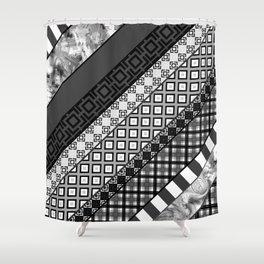 Black / white patchwork Shower Curtain