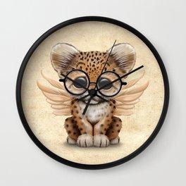 Cute Leopard Cub Fairy Wearing Glasses Wall Clock