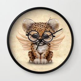 Cute Leopard Cub Fairy Wearing Glasses Wall Clock