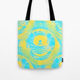 Abstract Aqua and Yellow Tote Bag