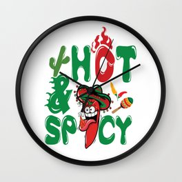 Cinco De Mayo Hot and Spicy Red Pepper Wall Clock