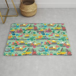 Dinosaur Construction Crew Pattern Rug