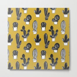 Mustard yellow black gray hand painted cactus illustration Metal Print