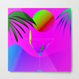 Colorful ,exotic,tropical des,sunset,cocktail,palm trees Metal Print