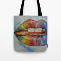 lips Tote Bags featuring Lips by Michael Creese