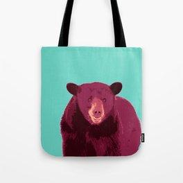 Bear poster, Brown bear, Happy bear wall art, GRIZZLY BEAR, animal bear, pop art poster Tote Bag