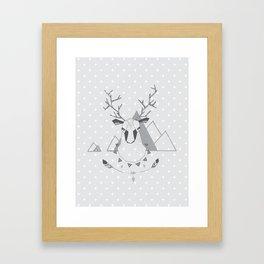 Geo Deer Gray Framed Art Print
