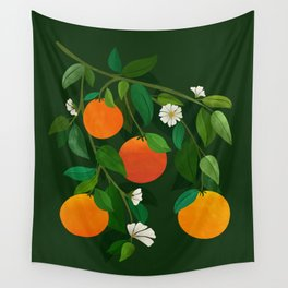 Oranges and Blossoms / Botanical Illustration Wall Tapestry