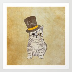Meow | Funny Cute Kitten Cat Vintage Sketch Monocle and Top Hat Art Print