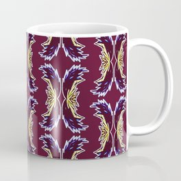 Yellow Burgundy Ornament Baroque Damask Pattern Coffee Mug