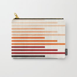 Brown Minimalist Abstract Mid Century Modern Staggered Thin Stripes Watercolor Painting Carry-All Pouch