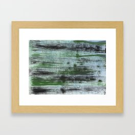 Gray green striped abstract Framed Art Print