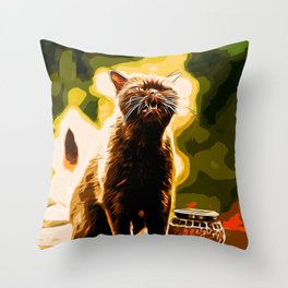 british shorthair cat ready to attack vector art Throw Pillow