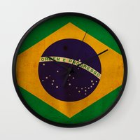 brasil Wall Clocks featuring Brasil by NicoWriter