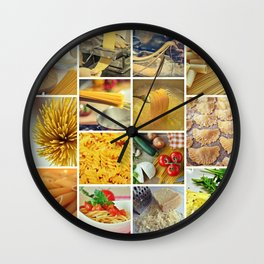 Collage Pasta food Wall Clock