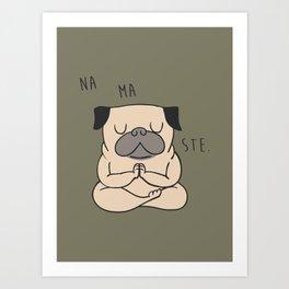 NAMASTE Pug Art Print