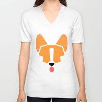 corgi V-neck T-shirts featuring corgi by modern arf