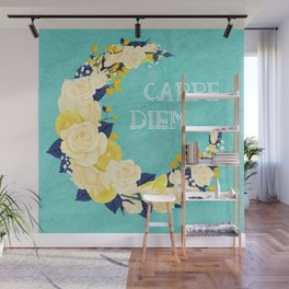 Crescent Bloom | White roses and lemons Wall Mural