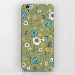 Emma_Wildflowers in Avocado Green iPhone Skin