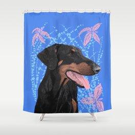 Happy doberman dog - Blue Shower Curtain