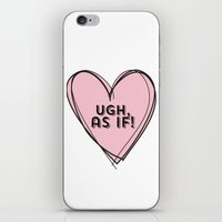 clueless iPhone & iPod Skins featuring Clueless Ugh As If Pink Hand Drawn Heart by hellosailortees