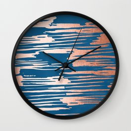 Tiger Paint Stripes - Sweet Peach Shimmer on Saltwater Taffy Teal Wall Clock