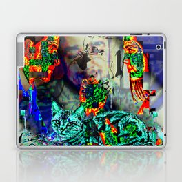Electro Glitch Cat Just Doesn't Care Laptop & iPad Skin