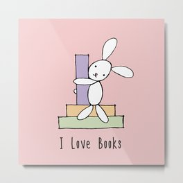 I Love Books - Pink Metal Print