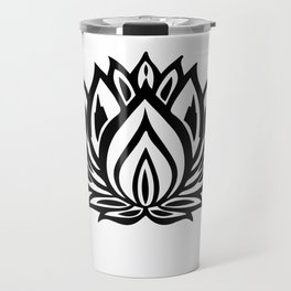 Black and White Lotus Pattern Travel Mug