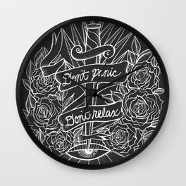 Don't Panic Don't Relax, Resist. - Gray and white Wall Clock