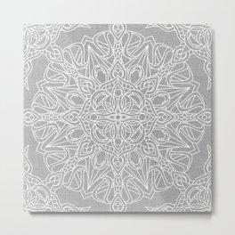 White Mandala on Grey Linen Metal Print
