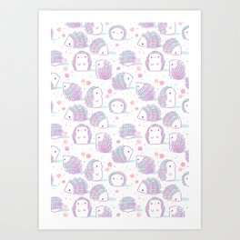 Spring Hedgehog Pattern Art Print