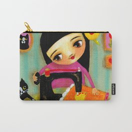 Little sewing girl with black cat Carry-All Pouch