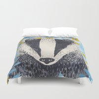 badger Duvet Covers featuring British Badger by stephanie cole DESIGN