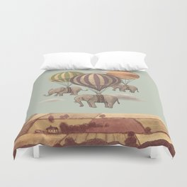 Flight of the Elephants - mint option Duvet Cover