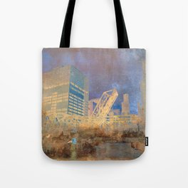 Drawbridge Chicago River City Skyline Tote Bag